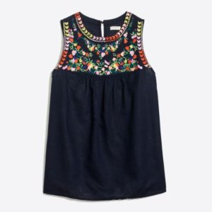 Embroidered linen-cotton tank top : FactoryWomen Shirts & Tops | Factory
