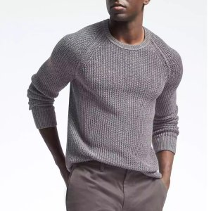 Ribbed Linen Crew Pullover | Banana Republic