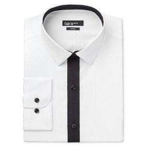 Bar III Men's Slim-Fit White with Black Placket Dress Shirt, Only at Macy's - Dress Shirts - Men - Macy's