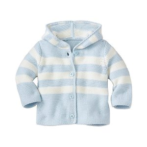 Baby Hoodie Stripe Cardigan In Organic Cotton | Baby Sale Sweater & Jacket