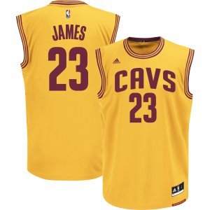 adidas Men's Cleveland Cavaliers LeBron James #23 Alternate Gold Replica Jersey