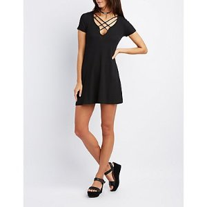 Ribbed Lace-Up Shift Dress | Charlotte Russe
