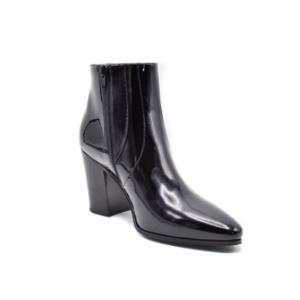 Saint Laurent Saint Laurent Black Patent Leather Zip Up French Ankle Boots | Bluefly.Com
