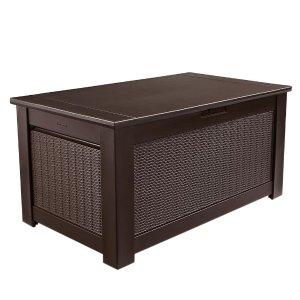 Rubbermaid 93 Gal. Bridgeport Resin Storage Bench Deck Box-1875233 - The Home Depot