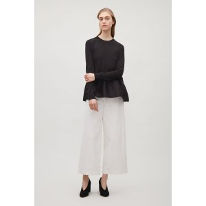 Knitted top with woven skirt
