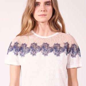Linen T-Shirt With Lace Collar - Tops & Shirts - Sandro-paris.com