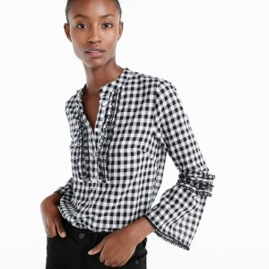 Embroidered bell-sleeve top in gingham