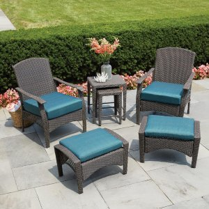 Hampton Bay Placerville Brown 6-Piece Wicker Patio Conversation Set with Turquoise Cushion-65-43126 - The Home Depot