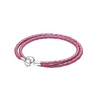 Rue La La — PANDORA Silver & Honeysuckle Pink Leather Wrap Bracelet