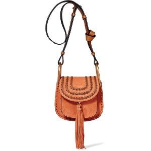 Chloé   Hudson mini whipstitched suede shoulder bag