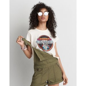 AEO Van Halen Band T-Shirt , Natural White | American Eagle Outfitters