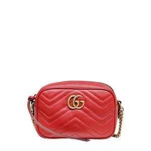 GUCCI - MINI GG MARMONT 2.0 LEATHER BAG - SHOULDER BAGS - RED - LUISAVIAROMA