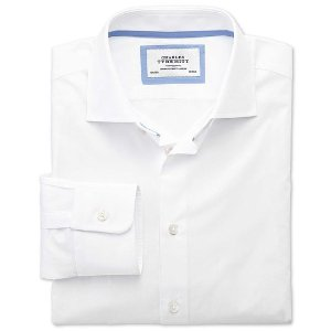 Classic fit semi-spread collar business casual white shirt | Charles Tyrwhitt