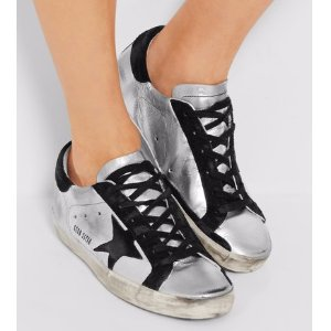 Golden Goose Deluxe Brand   Super Star distressed suede-paneled metallic leather sneakers   NET-A-PORTER.COM