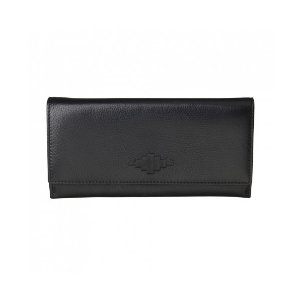 Pampeano 100% Leather Chica Continental Women Purse – Black with Black Diamond - Accessories | Unineed | Premium Beauty & Fashion