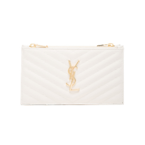Saint Laurent Double Zip Wallet in Porcelain