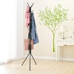 INLIFE 3-Tier Coat Hat Rack Display Stand Hall Tree with 11 Hooks for Jacket Umbrella Handbag Purses Hats (Black)