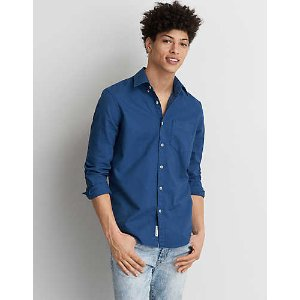 AEO Garment Dyed Oxford Shirt, Dark Blue | American Eagle Outfitters