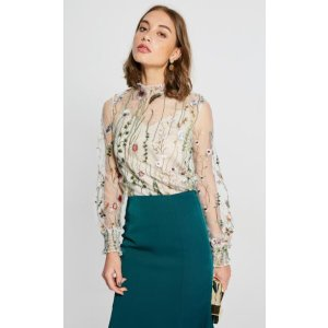 High Neck Embroidery Flower Mesh Top
