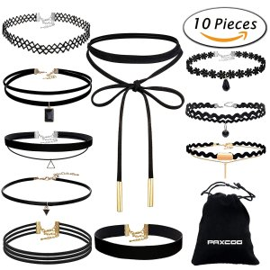 $7.19 (Orig $45.99)Paxcoo CN-01 Black Velvet Choker Necklaces with Storage Bag for Women Girls, Pack of 10