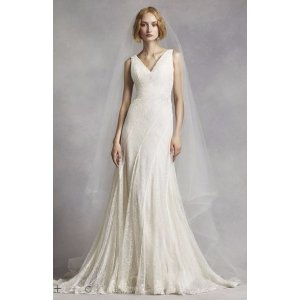 White by Vera Wang V-Neck and Lace Wedding Dress