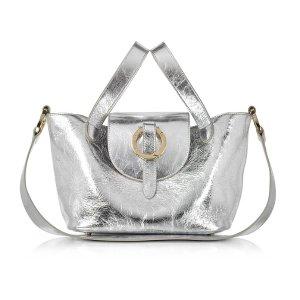 Meli Melo Rose Thela Silver Metallic Nappa Leather Mini Crossbody Bag at FORZIERI