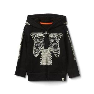 Halloween glow-in-the-dark skeleton zip hoodie