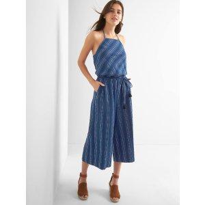 Stripe apron-neck culotte jumpsuit | Gap