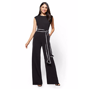 7th Avenue - Piped Belted Jumpsuit