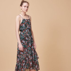 REVIA Long printed chiffon dress - Dresses - Maje.com