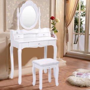 $96Goplus White Vanity Wood Makeup Dressing Table Stool Set Bedroom With Mirror + 3Drawers