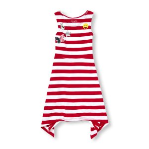 Girls Americana Sleeveless Patched Striped Shark-Bite Dress | The Children's Place