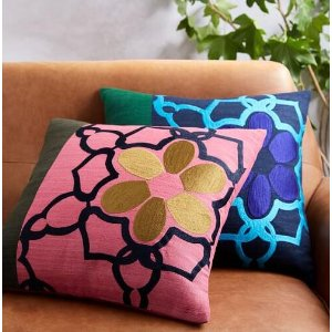 Embroidered Colorblock Floral Lattice Pillow Cover | west elm