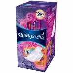 Always Radiant Overnight Feminine Pads with Wings Scented22 Count Pack of 3