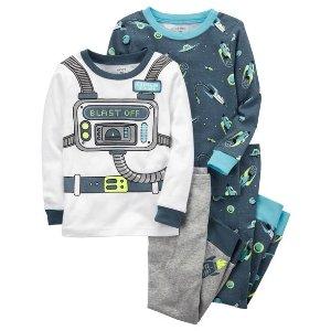 4-Piece Neon Astronaut Snug Fit Cotton PJs