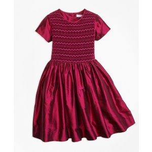 Silk Smocked Dress - Brooks Brothers