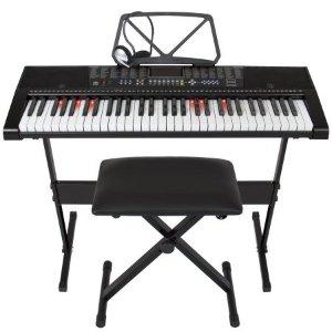 Best Choice Products Teaching Electronic Keyboard Piano Set, 61-Key w/ Adjustable H-Stand, Stool, Headphones (Black) - Walmart.com