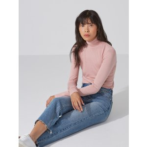 Wool-Blend Mockneck Longsleeve Shirt in Misty Rose
