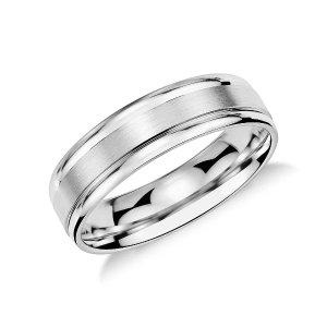 Brushed Inlay Wedding Ringin Platinum (6mm) | Blue Nile