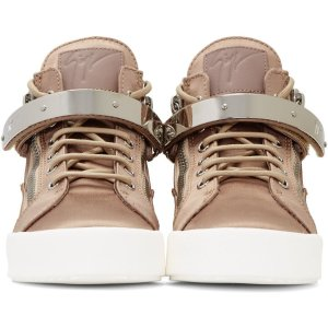 Giuseppe Zanotti: SSENSE Exclusive Pink Satin May London High-Top Sneakers | SSENSE