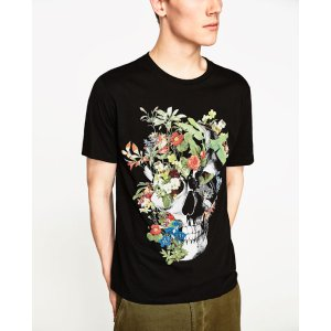 SKULL AND FLORAL PRINT T - SHIRT-View All-T-SHIRTS-MAN-SALE | ZARA United States