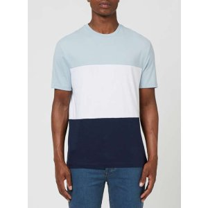 Blue, White And Navy Panel T-Shirt - View All Clearance - Clearance - TOPMAN USA