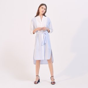 Two-Tone Shirt-Effect Dress - Dresses - Sandro-paris.com