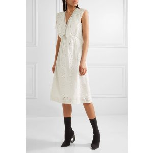 Burberry | Ruffle-trimmed broderie anglaise cotton-blend dress