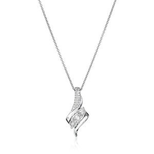 Sterling Silver Diamond 3 Stone Pendant Necklace (1/4 cttw), 18