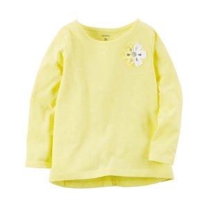 Toddler Girl Long-Sleeve Floral Embellished Tee | Carters.com