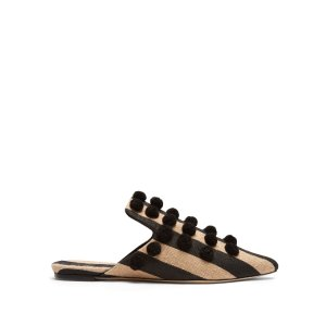 Pom Pon embellished canvas slipper shoes | Sanayi 313