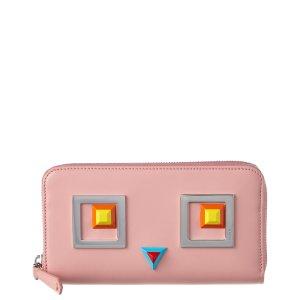 Fendi Fendi Square Eyes Leather Zip Around Wallet | Bluefly.Com