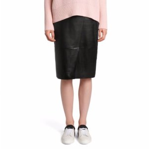 'Seylise' | Lambskin Asymmetrical Seam Pencil Skirt