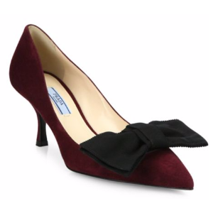 Prada - Suede & Bow Point Toe Pumps - saks.com